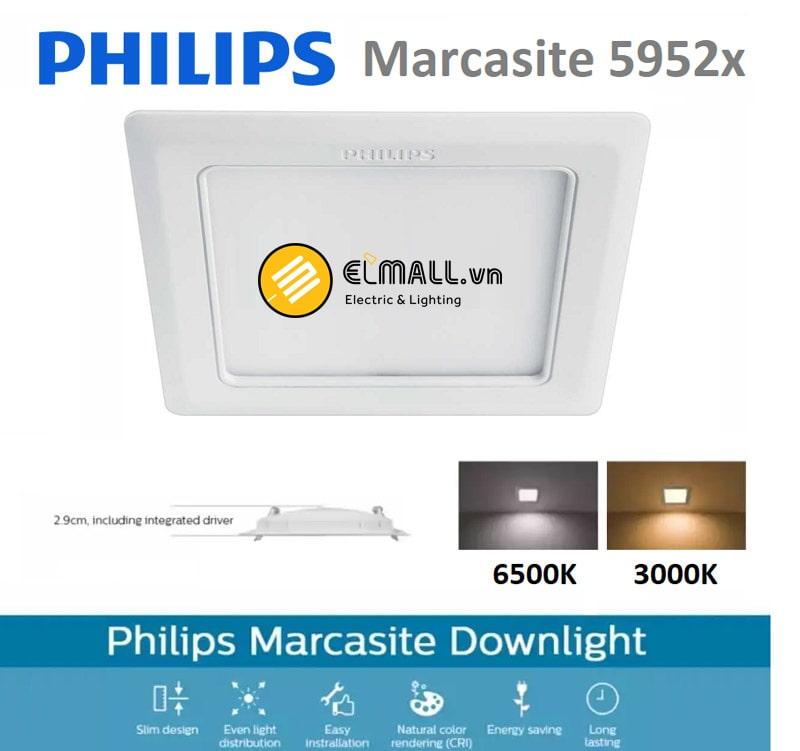 Đèn led âm trần philips Marcasite vuông