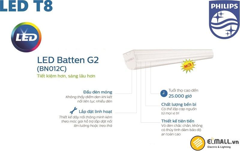 Đèn led liền máng T8 Batten BN012C 10W L600
