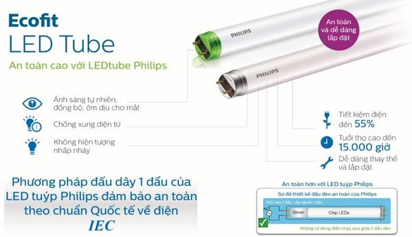 Đèn led tuýp EcoFit HO Philips T8 10W L600