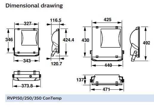 Kích thước bóng đèn cao áp Philips RVP350 SON T400W K IC A SP