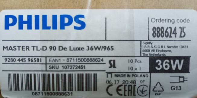 thong so ky thuat den soi mau d65 master philips tl90 delux 36w 965
